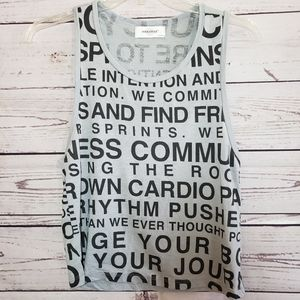 Soulcycle muscle tank top with encouraging words